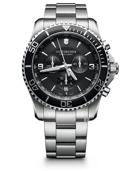VICTORINOX 瑞士維氏 SWISS ARMY 三眼計時 手錶 (VISA-241695) 黑/43mm