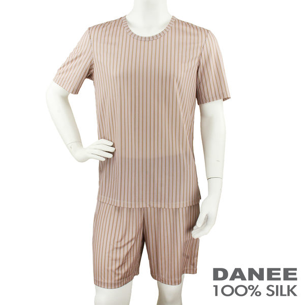 【岱妮蠶絲】短袖蠶絲居家服(衣+褲)橘紅