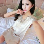 居家服 超薄冰絲母女韓國情調舒服睡衣女夏套裝短袖青年棉綢歐美ins涼快【小天使】
