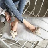 穆勒鞋女2018新款百搭韓版平底包頭涼拖蝴蝶結外穿尖頭半拖鞋女夏