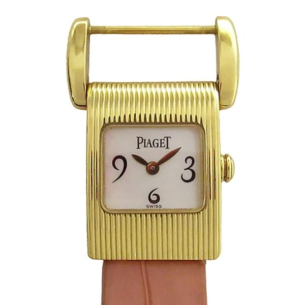 PIAGET 伯爵 珊瑚粉皮革金色石英腕錶 Miss Protocole 5221 【BRAND OFF】