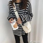 秋季韓版慵懶風寬鬆條紋鏤空套頭毛衣中長款長袖針織衫上衣外套女 樂芙美鞋