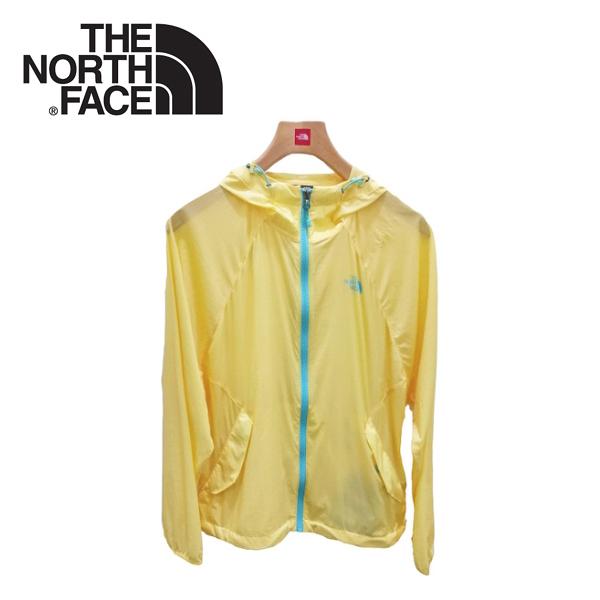 【The North Face 女 防晒外套《黃》】2VEO/透氣/防水/兜帽外套/連帽外套/輕量風衣