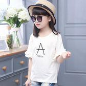 夏女童短袖上衣正韓時尚寬鬆兒童體恤中大童半袖t恤白色公主三角衣櫥