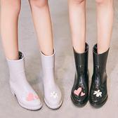 時尚雨鞋女成人中筒水鞋韓國水靴可愛雨靴防滑膠鞋