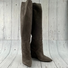 BRAND楓月 Saint Laurent YSL 聖羅蘭 米灰色 麂皮 過膝 長靴 冬季保暖 高跟 拉長比例 女靴