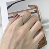 戒指 925純銀v型戒指女時尚個性三角v形幾何食指日韓潮人學生日式輕奢