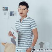 【OBIYUAN】POLO衫 韓版 合身 學院風 條紋 短袖上衣 共2色【F50335】