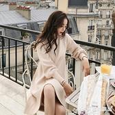 針織洋裝 秋裝新款連身裙女2021新款網紅chic套頭保暖針織毛衣中長款上衣服 愛麗絲