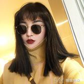 原宿嘻哈風小框圓臉太陽眼鏡圓框復古女近視墨鏡潮        瑪奇哈朵