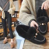 網紅保暖雪地毛毛鞋社會豆豆鞋女棉鞋子2019冬季新款秋季加絨女鞋