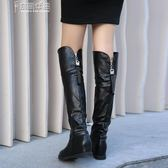 過膝長靴子女高筒女鞋皮靴女平底流蘇大筒圍 奈斯女装