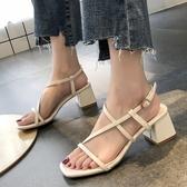 方頭鞋.夏日簡約三色交叉繞踝方頭粗跟涼鞋.白鳥麗子