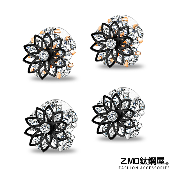 合金耳環 韓版雙層鏤空花朵黑邊框耳環 復古氣質耳環 好友禮物推薦 精美造型 一對價【EKA714】