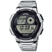 【CASIO】10年電力世界城市野外風格不鏽鋼電子錶-銀(AE-1000WD-1A)