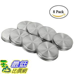 [107美國直購] 瓶蓋 Polished Stainless Steel Storage Mason Jar Lids Caps with Silicone Seals 8Pack
