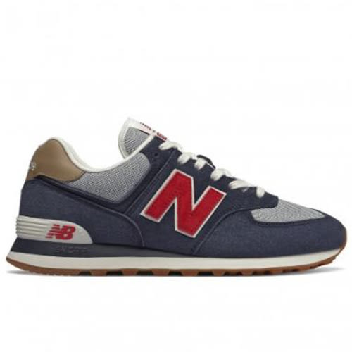 New Balance 574 男鞋 休閒 復古 麂皮 藍 紅【運動世界】ML574PTR