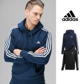 【GT】Adidas 黑藍 連帽T恤 長袖 運動 休閒 棉質 上衣 帽衫 愛迪達 基本款 三條線 Logo