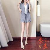 兩件套休閒西裝套裝女夏季短褲子條紋西裝外套【奈良優品】