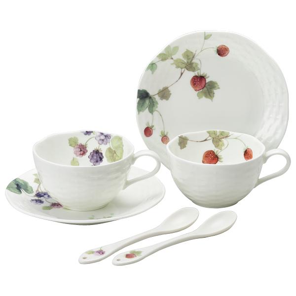 日本【鳴海 NARUMI】Lucy Garden 茶杯 咖啡杯杯盤 附湯匙 二入組