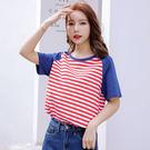 【GZ45】052#(精棉 95%棉5%氨綸)新款夏裝韓版寬鬆條紋t恤短袖