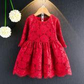 3秋季女童裝紅色蕾絲連身裙4中小童七分袖紅裙子6女寶寶公主裙7歲