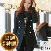 外套翻領顯瘦雙排扣口袋名媛女西裝毛呢保暖大衣LIYO理優E748007