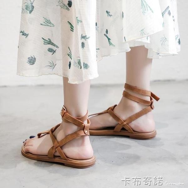 夾趾涼鞋女平底鞋新款夏季仙女風學生綁帶羅馬海邊沙灘鞋大碼 卡布奇諾