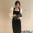 泡泡袖連身裙 大碼胖MM遮肚顯瘦絲絨連身裙秋冬季高腰減齡洋氣赫本小黑裙打底裙 寶貝計畫