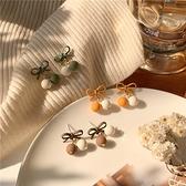 【NiNi Me】韓系耳環 甜美可愛蝴蝶結雙色圓珠925銀針耳環 耳環 N0593