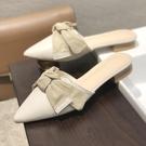 2020新款包頭韓版半拖鞋尖頭平底涼拖女春秋外穿蝴蝶結懶人穆勒鞋