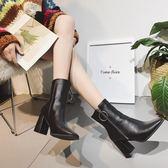 中筒靴 女靴子歐美時尚馬丁靴短靴粗跟中跟拉鍊保暖中筒靴 酷我衣櫥