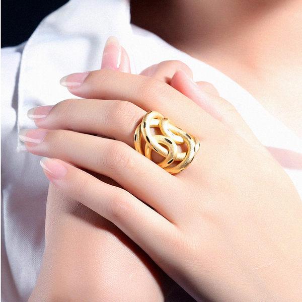 【5折超值價】最新款時尚精美特色不規則造型銅鍍18K金女款戒指
