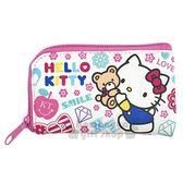 〔小禮堂〕Hello Kitty 皮質L 型拉鍊鑰匙包~白抱小熊滿版~零錢包收納包4713
