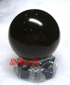 『晶鑽水晶』天然黑曜石球 40~41mm 全黑又黑又亮*附底座!超值特惠中