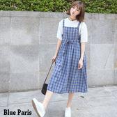 學院風 - 清新格紋寬鬆吊帶連身裙/洋裝【28034】《2色》 Blue Paris 現貨