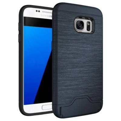 【SZ35】三星Galaxy s7/s7edge手機殼防摔拉絲保護殼插卡套支架手機殼