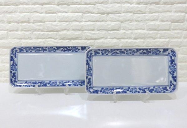 快速出貨 盤子 和風花草圖案藍邊陶瓷方形長盤 2件1組【Tifana】