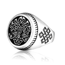 《 QBOX 》FASHION 飾品【RBR8-732】精緻個性歐美復古生命之樹圖紋鑄造鈦鋼戒指/戒環