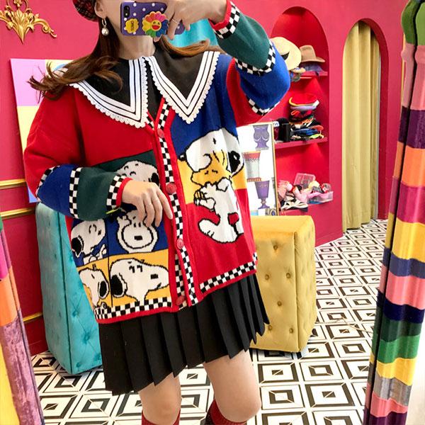 NXS 正韓 史努比 針織外套 針織衫 毛衣 長袖 厚 可愛 卡通 俏皮 韓國