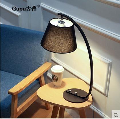 現代簡約LED裝飾布藝檯燈 創意臥室調光餵奶床頭燈