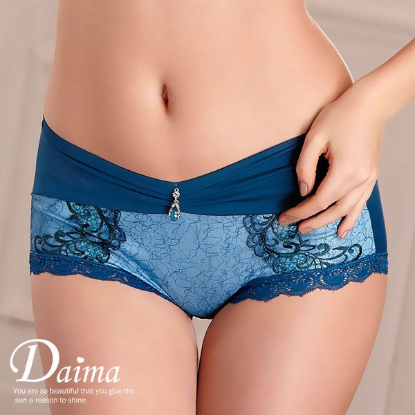 內褲 蠶絲V型誘惑刺繡蕾絲美臀褲(藍色) 【Daima黛瑪】