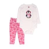 Carter s卡特 肩扣式包屁衣+長褲 二件組 白企鵝 | 女寶寶套裝(嬰幼兒/兒童/小孩)