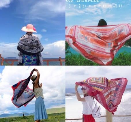 [協貿國際]  女士春夏季民族風棉麻度假絲巾披肩防曬圍巾 (1入)