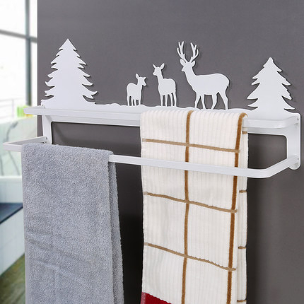 免釘打孔毛巾架衛生間雙桿掛鉤廚房抹布架掛毛巾架浴室雙層毛巾桿