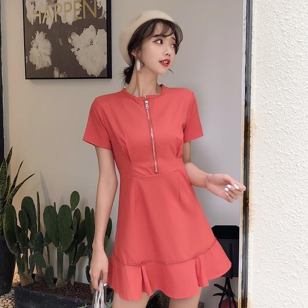 VK旗艦店 韓國風拉鍊高腰修身顯瘦荷葉邊氣質短袖洋裝