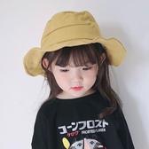 春秋兒童漁夫帽子女童韓國黃色寶寶帽子大帽沿男童盆帽夏季遮陽帽