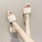 女士拖鞋外穿時尚網紅中跟一字拖2021新款夏季百搭粗跟涼拖ins潮 蘿莉新品