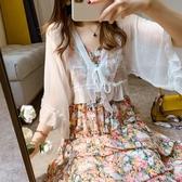 新品夏季套裝裙子中長款吊帶碎花連身裙衣裙 荷葉邊薄款空調衫小披肩 居享優品
