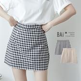 線條方塊格紋拉鍊褲裙M-L號-BAi白媽媽【310340】